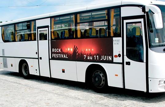 Affichage bus, flanc de bus