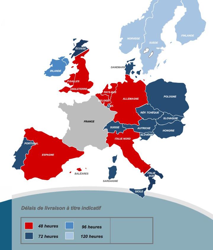 Carte des délais France express Europe