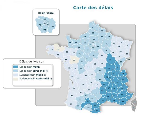 Carte des délais France express France
